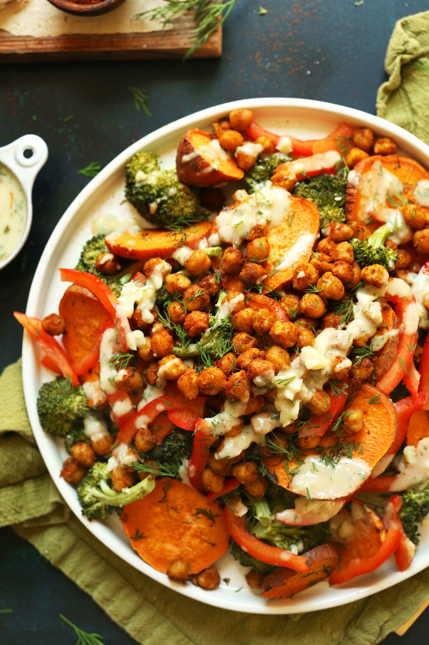 Healthy 30 minute broccoli sweet potato chickpea salad with a simple garlicl dill sauce vegan glutenfree dinner healthy recipe
